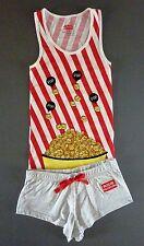 NEU Damen Pyjama Shorty Kino Top + Hot Pants Shorts S M L Schlafanzug Primark