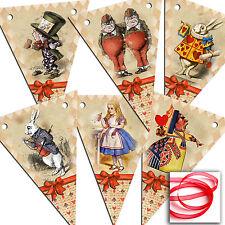 Alice in Wonderland Bunting Vintage Tea Party 6/12 Wedding/Birthday Mad Hatter