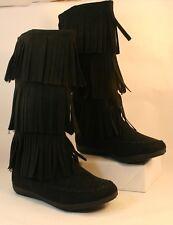 New SO Lunchbox Black Triple Fringe Moccasin Fashion Boots Women's Size 10