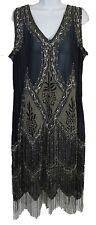 Unique Vintage Women's Art Deco Embroidered Somerset Flapper Fringe Dress Navy