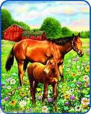 "Heavy Soft Plush Warm Queen Size MARE & FOAL HORSE Faux Mink Blanket 79"" x 96"""