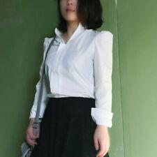 Fashion Women White V Neck Long Sleeve Blouse Tops Summer Shirt Tops Ladies