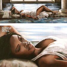 "54""x19"" RESTFUL RETREAT I by RON DI SCENZA GIRL WOMAN DRESS WATER PILLARS CANVAS"