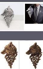 NEU Brosche Herren Wolf Tribal gold messing silber Pin Anstecknadel H27