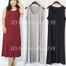 Women Sleeveless Long Tunic Long Midi Dress Causal Loose Maxi Dresses M-6XL