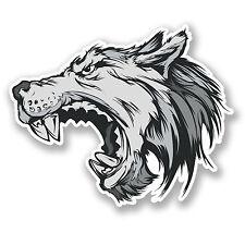 2 X Angry Wolf Etiqueta Auto Moto Ipad Laptop Casco Salvaje Perro Mascota Animal # 4259