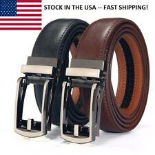 Bonded Leather Belt Men's Ratchet Dress Belts With Adjustable Automatic Buckle