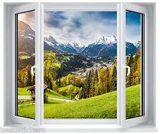 Sticker fenêtre trompe l'oeil déco Paysage montagne réf 5272