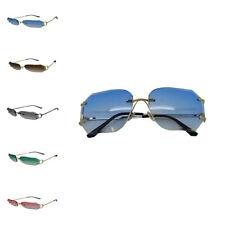 Women Ladies Fashion Trendy Oversized Retro Square Hexagon Rimless Sunglasses