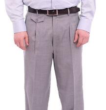 Apollo King Classic Fit Gray Pinstripe Pleated Wide Leg Wool Dress Pants