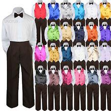 23 Color Vest Brown Bow Tie Pants Boy Baby Toddler Formal Tuxedo Suit 4pc sz S-7