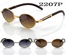 New Art Nouveau Vintage Fashion Oval Buffs Frame Wood Templer Sunglasses Shades