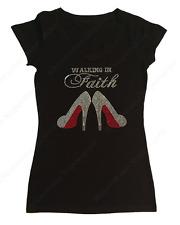 "Women's Rhinestone T-Shirt "" Walking in Faith "" S, M, L, XL, 2X, 3X, Religious"