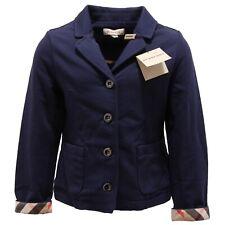 3763O giacca garzata bimba blu BURBERRY cotone modal sweatshirts coats kids