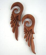 Pair Handmade Organic Wood Robot Mecha Feather Wings Ear Gauge Hang Plugs 4G-5/8