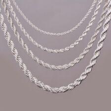 Collier chaines torsadé couleur Argent brillant diamètre 5 mm long 46 ou 61 cm
