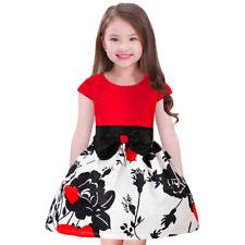 New fashion Kids girls dress Retro print dress princess skirt formal Party dress