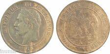 Second Empire, 10 centimes tête laurée en bronze, 1864, K = Bordeaux - 8