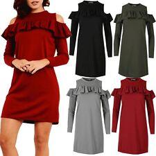Womens Ladies Cold Cut Out Shoulder Long Sleeve Peplum Ruffle Frill Mini Dress