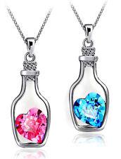 Anhänger Flasche mit Herz blau oder rosa auf eine Kette