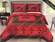 Texas Star Praying Cowboy Western Quilt Bedspread Comforter 3 Pcs Set Rustic Red
