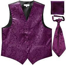 New Men's Paisley Tuxedo Vest Waistcoat & Ascot Cravat & Hankie Wedding Purple