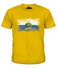 SAN MARINO DISTRESSED FLAG KIDS T-SHIRT TOP SAMMARINESE SHIRT JERSEY GIFT