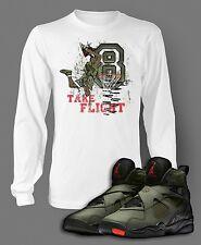 T Shirt to Match Air Jordan 8 Sneaker Take Flight Pro Club Graphic White Tee LS