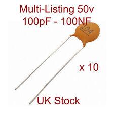 Condensadores De Disco De Cerámica-medio y alta K Multi-Listado 50v 100pF - 100NF