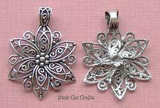 1 x Tibétain Argent Filigrane Fleur 66 mm charm pendentif perle