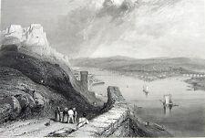 Germany KOBLENZ & EHRENBREITSTEIN FORTRESS ~ 1833 Print