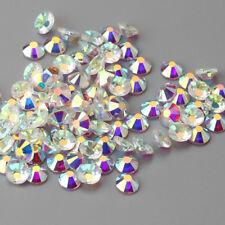 All size Shiny Transparent Flatback Crystal AB Glass Round Nail Art Rhinestones