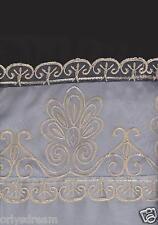 "Beautiful Elegant EMBROIDERY 2 Panel Curtain Set ""SHERRY""- BLACK & SILVER / GREY"