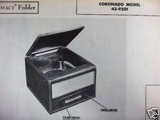 CORONADO 43-9201 RADIO - PHONOGRAPH COMBO PHOTOFACT