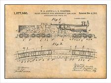 1913 Austin & Feightner Geared Locomotive Patent Print Art Drawing Poster 18X24