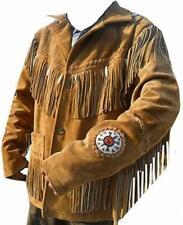 Men Brown Suede Western Cowboy Leather Jacket With Fringe & Bead Work
