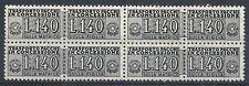 1955-81 ITALIA PACCHI IN CONCESSIONE STELLE 140 LIRE QUARTINA MNH ** - RR10365