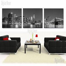 NYC SKYLINE/MANHATTAN NIGHT framed 3 piece canvas wall art/better than stretched