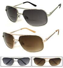 Retro Mens Aviator Bifocal Sun Reader Reading Sunglasses Spring Hinge UV Protect