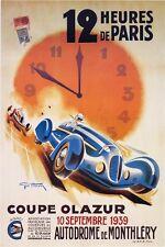 12 HEURES DE PARIS 12 HOURS OF PARIS Poster  Paper or Canvas Giclee