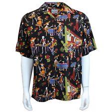 5e9a4aa2 David Carey Day of the Dead Camp Sugar Skulls Hawaiian Button Down Shirt  41503