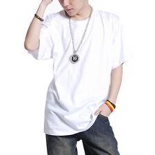 Men Hip Hop T-shirt Short Sleeve Cotton Big Loose Plain Rap Music Casual Top New