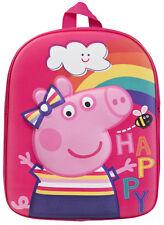 Peppa Pig 3D Backpack Kids Pink Nursery School Bag Rucksack Travel Lunch Bag