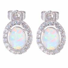 925 Silver Filled White Fire Opal Ear Stud Earrings Engagement Wedding Jewelry