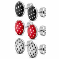 Ohrstecker mit Punkten rot schwarz Polka Dots Ohrringe Rockabilly 50er Pinup