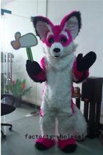 2018 Adults Birthday dress Long Fur red Husky Wolf Fox Dog Mascot Costume suits