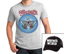Aerosmith T-shirt Wayne's World Hat combo Garth Wayne Halloween Costume cosplay