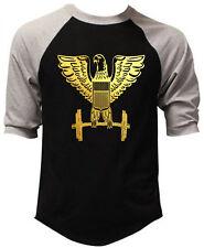 New Men's Gold Foil Eagle Dumbbells Black Baseball Raglan T Shirt Workout Gym