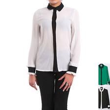 Camicia Donna Camicetta Casacca Blusa Bottoni Colletto Semi Aderente Moda 11406