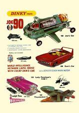 DINKY TOYS Joe 90 Thunderbirds i veicoli ad A3 o A2 RISTAMPA